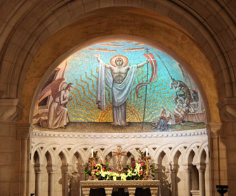 Primary mosaic in the Resurrection Chapel under the south transept on the crypt level of the Washington National Cathedral in Washington, D.C.