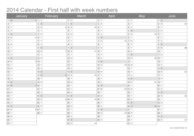 2014 half year calendar with week numbers