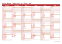 2014 half year name day calendar - cherry