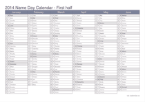 2014 half year name day calendar - office