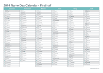 2014 half year name day calendar - turquoise