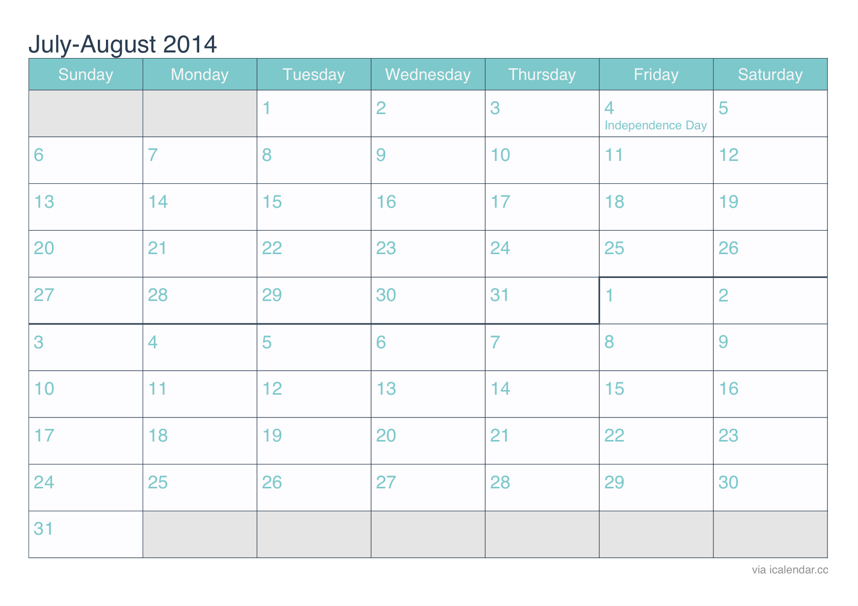 July And August 2014 Printable Calendar Icalendars Net