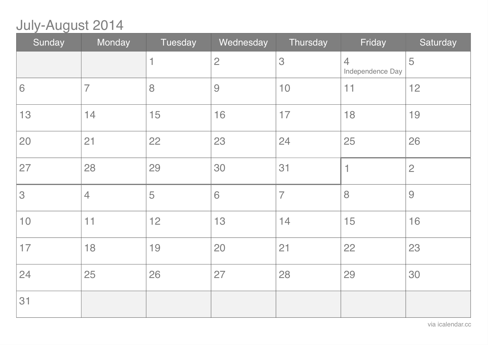 Calendar May June July August : July and august printable calendar icalendars