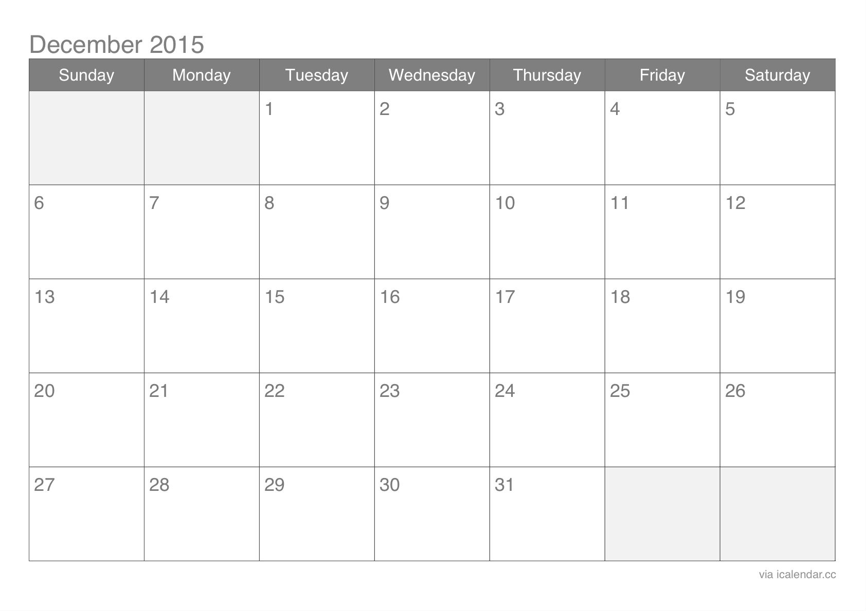 december 2015 downloadable calendar