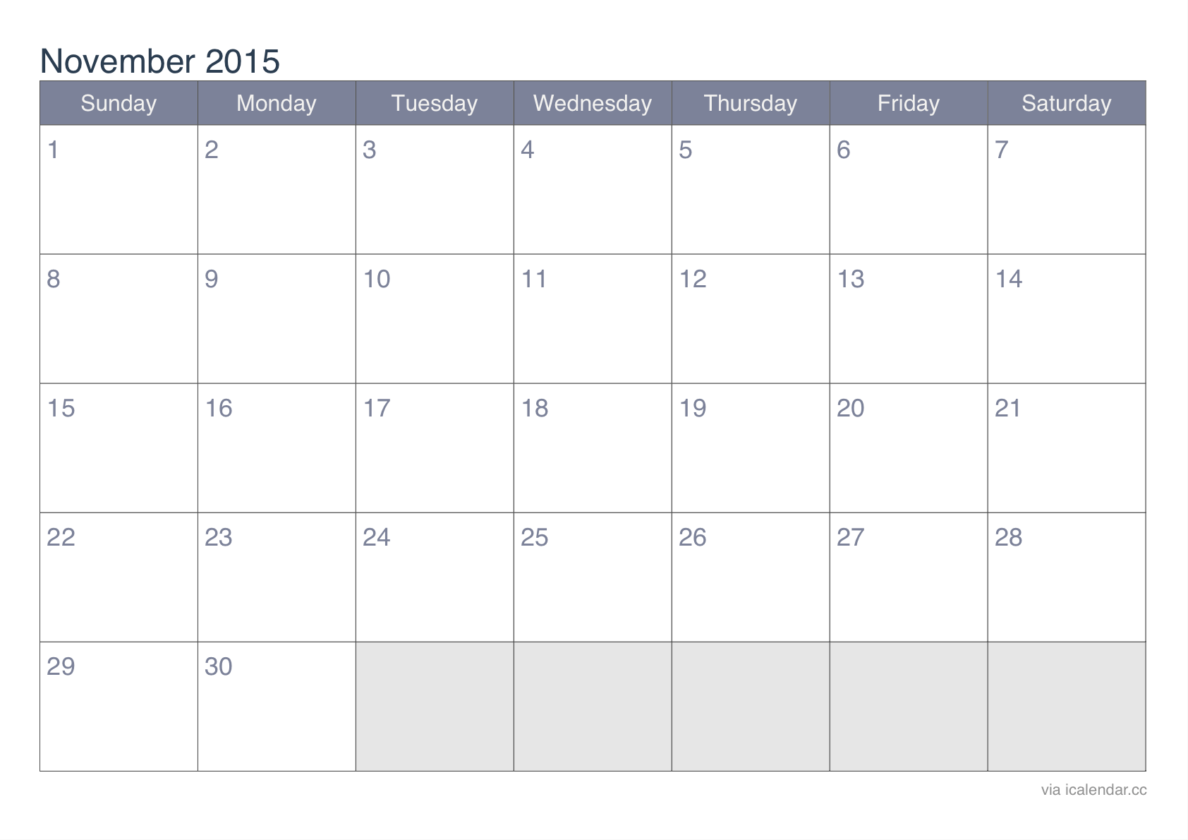November 2015 Printable Calendar - icalendars.net