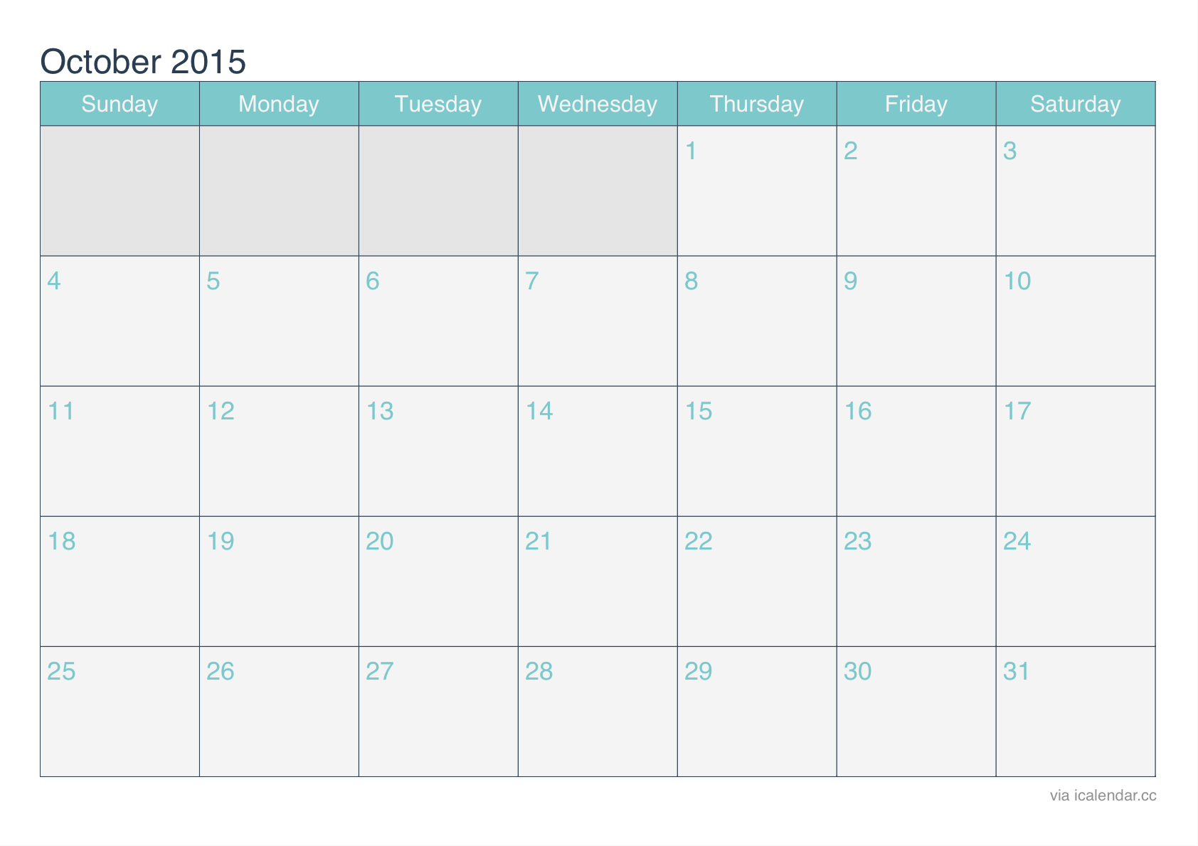 2015 october calendar turquoise 2015 october calendar turquoise