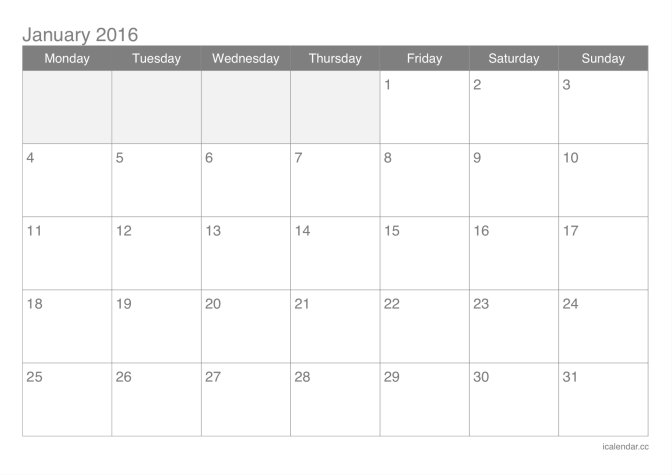 2016 printable calendar pdf or excel