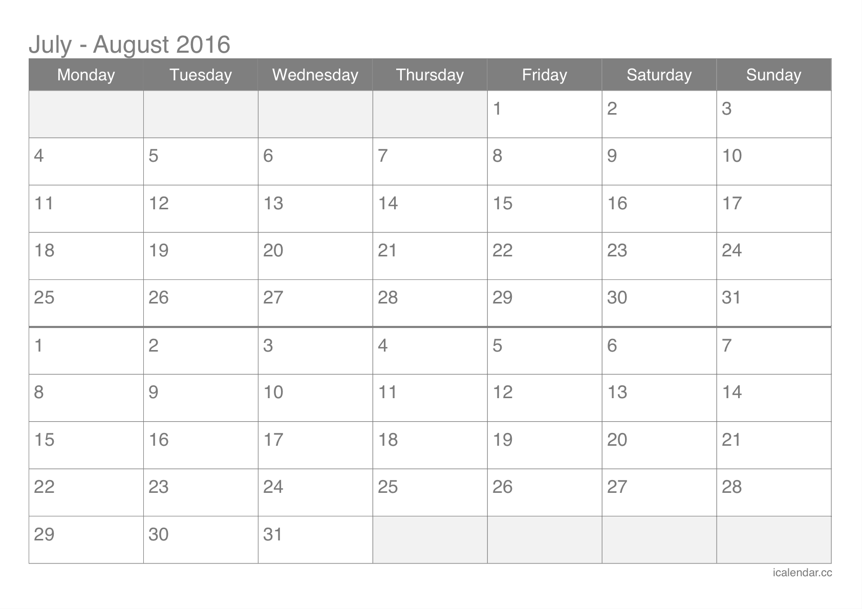 July and August 2016 Printable Calendar - icalendars.net