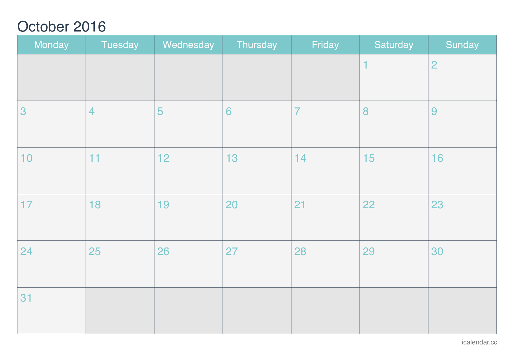 Monday Friday Calendar 2016 | Calendar Template 2016