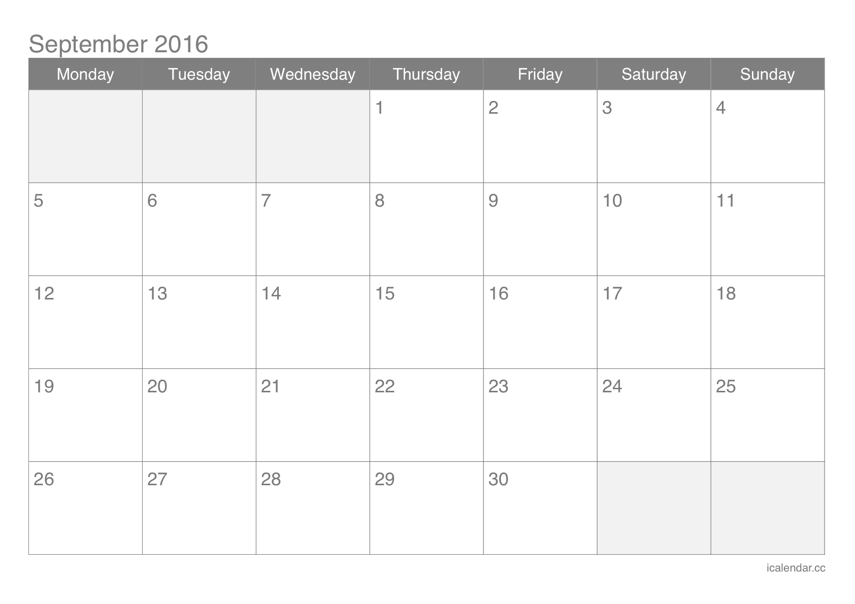 September 2016 Printable Calendar - icalendars.net
