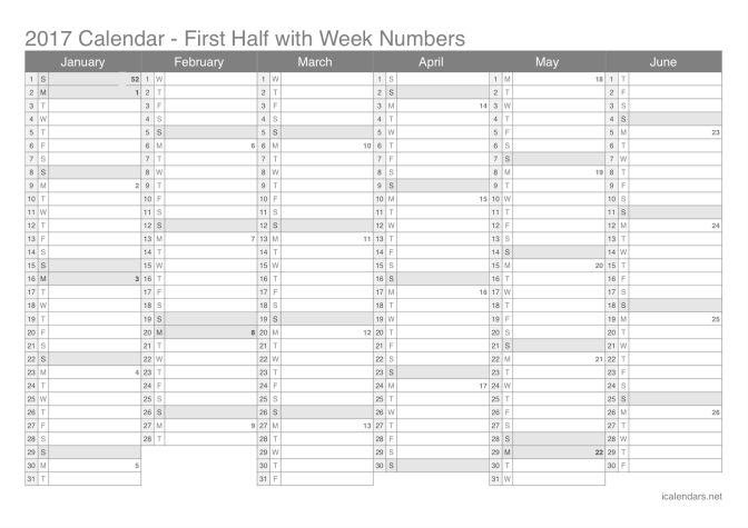 2017 half year calendar with week numbers