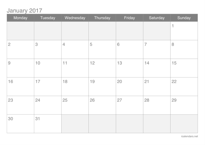 2017 printable calendar pdf or excel