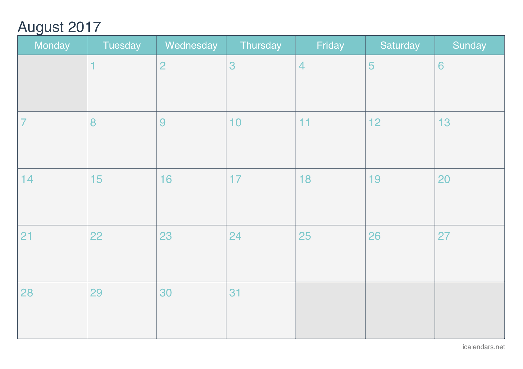 August 2017 Printable Calendar - icalendars.net