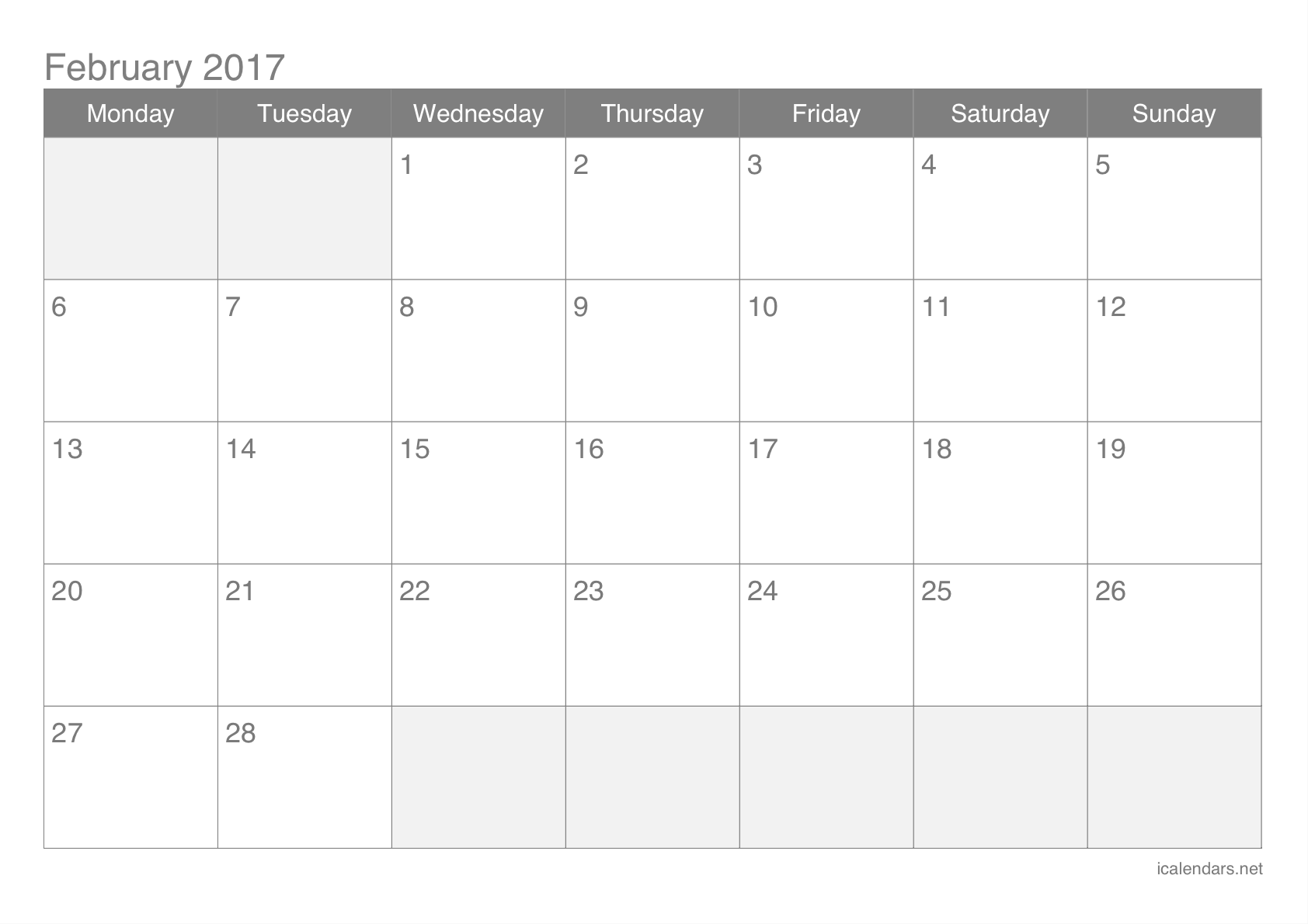 February 2017 Printable Calendar Icalendars Net