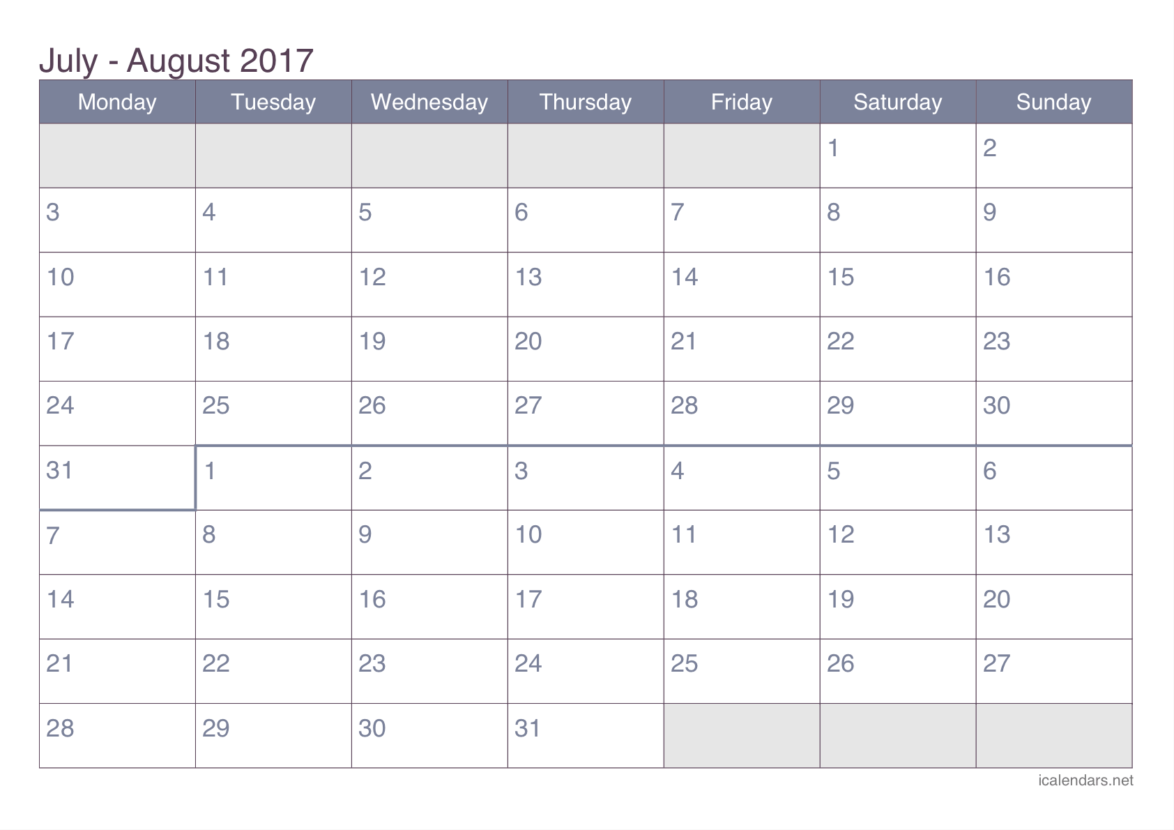 LSI 2017 Work Week Calendar - Astronics Corporation
