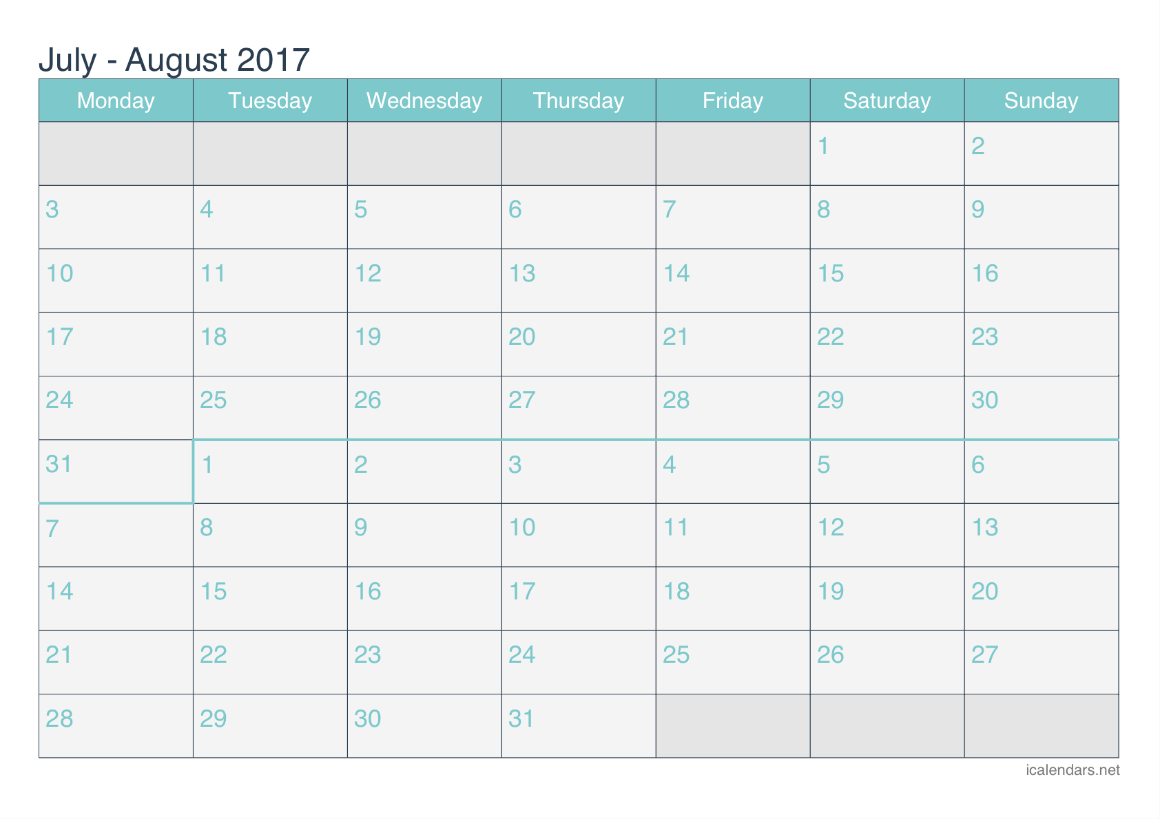 July and August 2017 Printable Calendar - icalendars.net