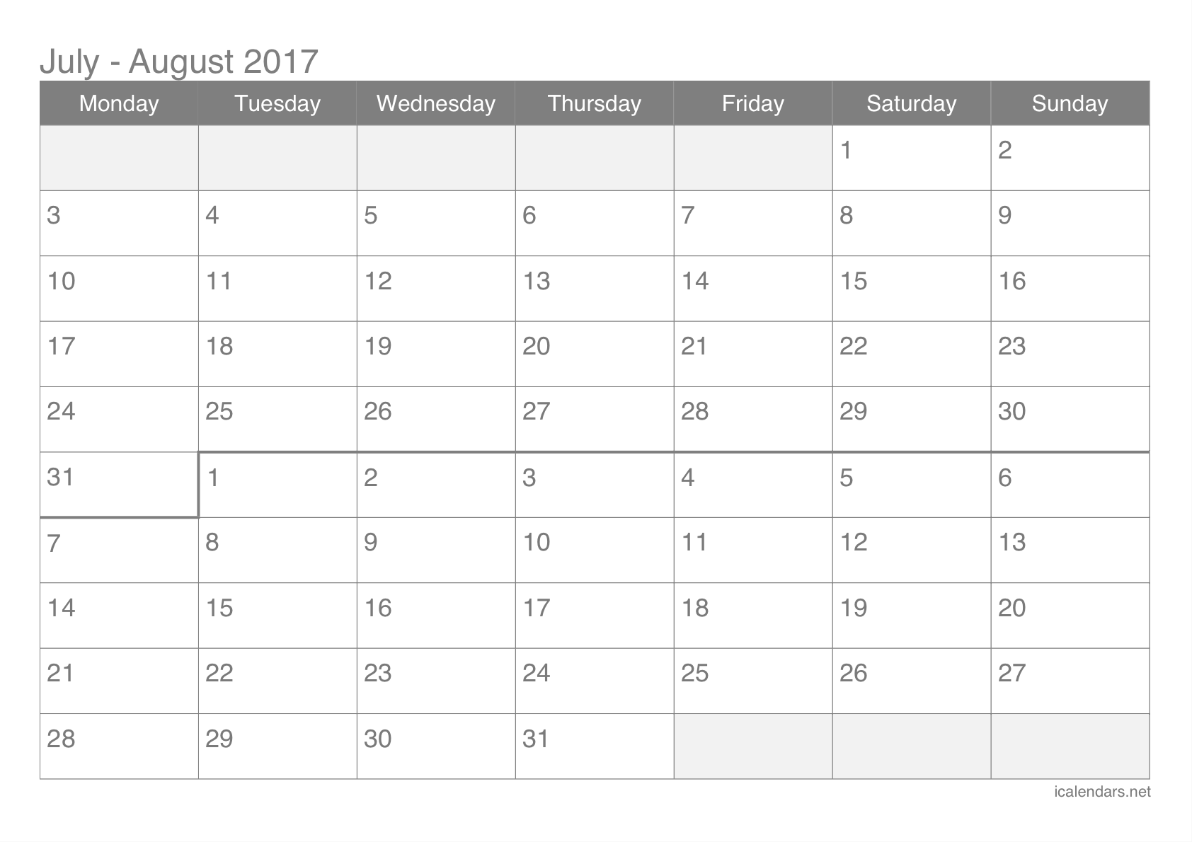 July And August 2017 Printable Calendar Icalendars Net