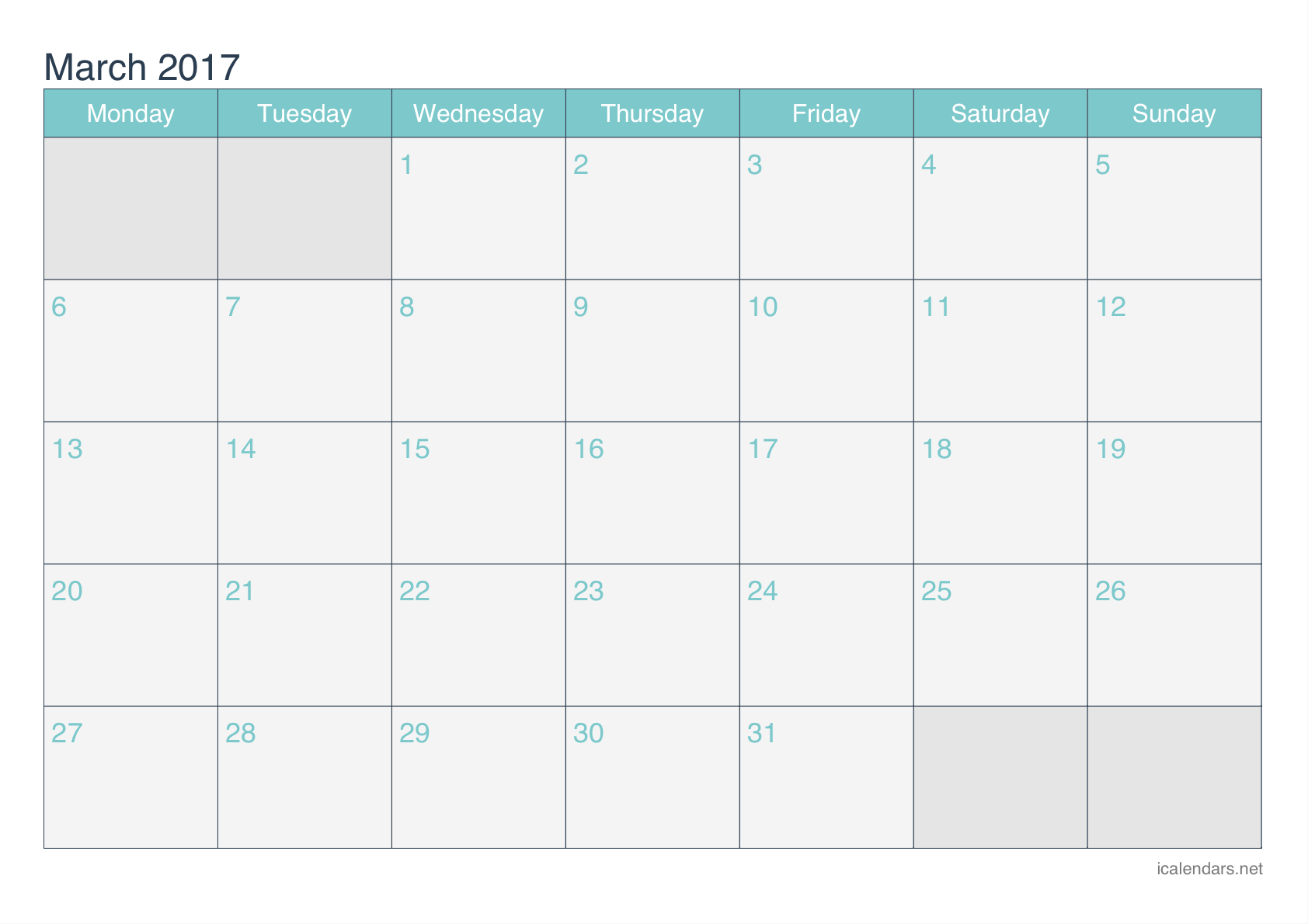 Printable Calendar of March 2017