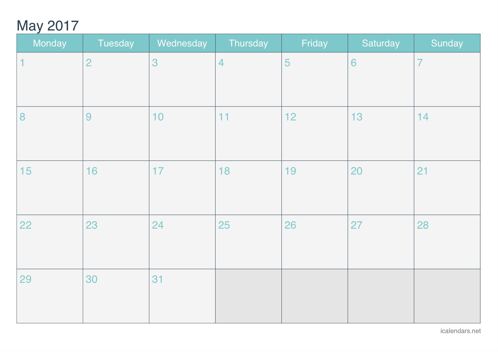 Printable Calendar of May 2017