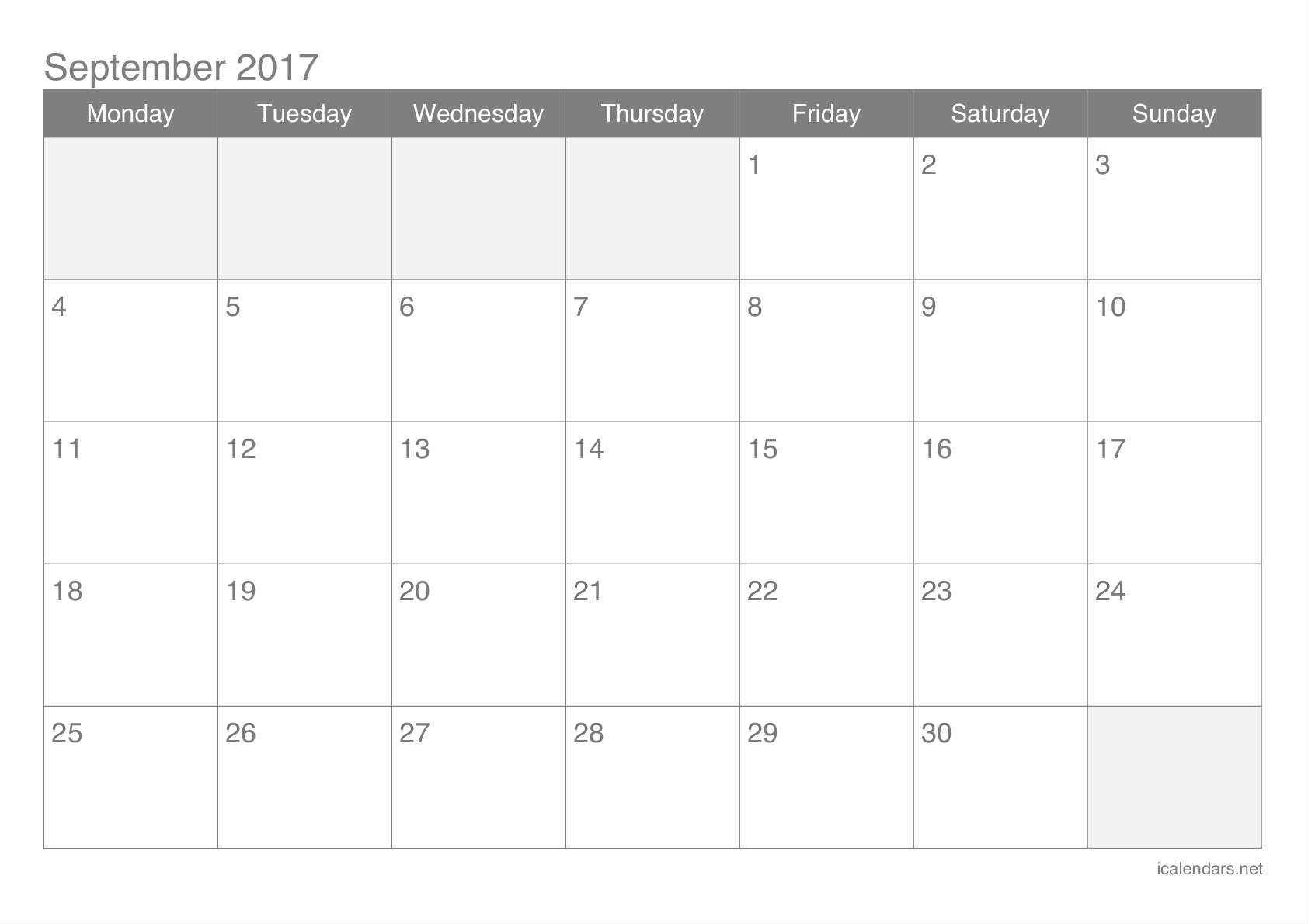 September 2017 Printable Calendar - icalendars.net