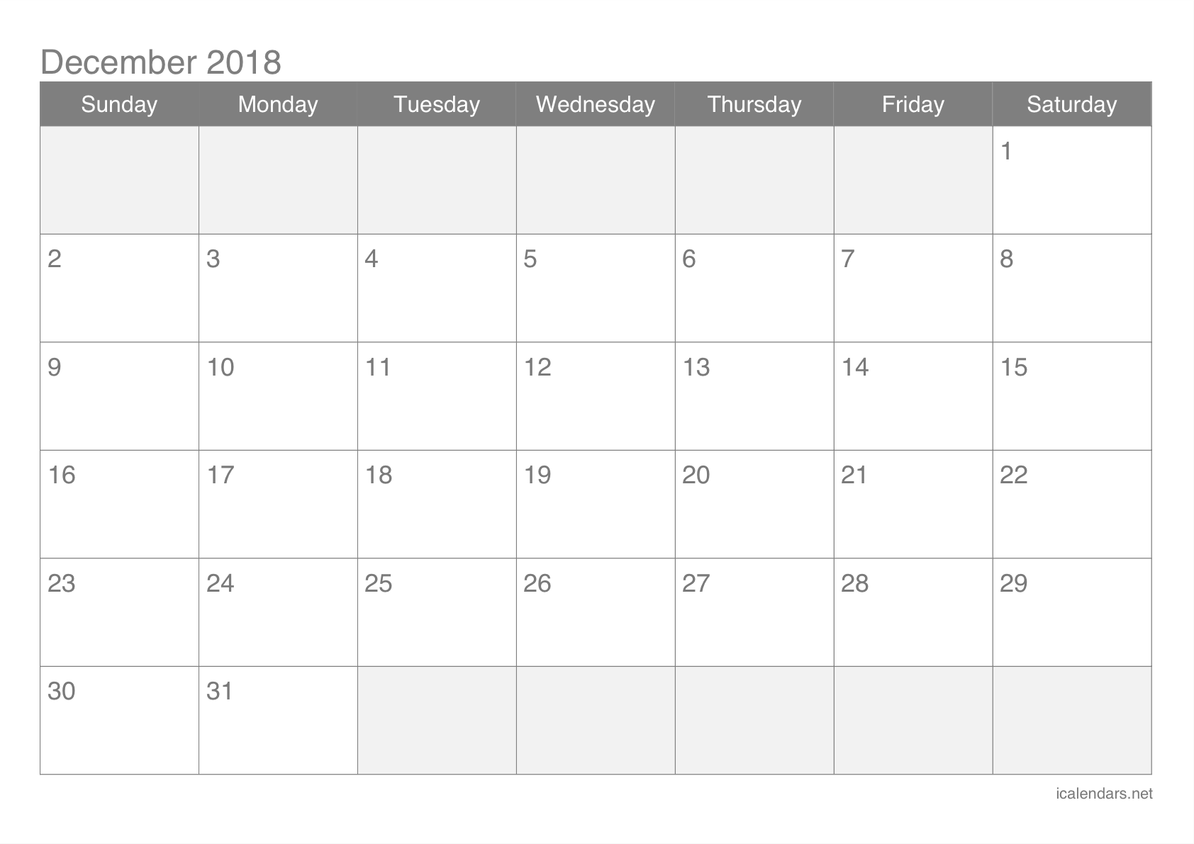 December 2018 Printable Calendar Icalendars Net