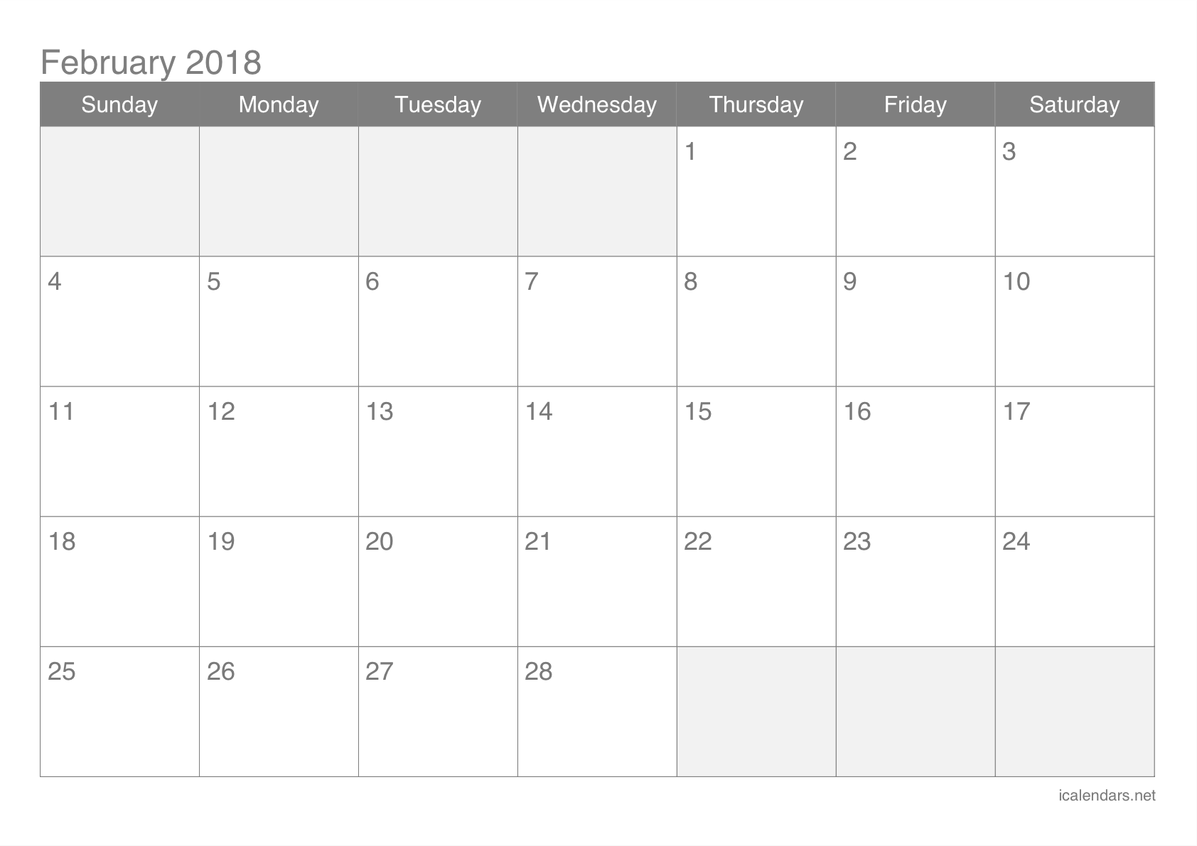 graphic relating to Printable Calendar February called February 2018 Printable Calendar -