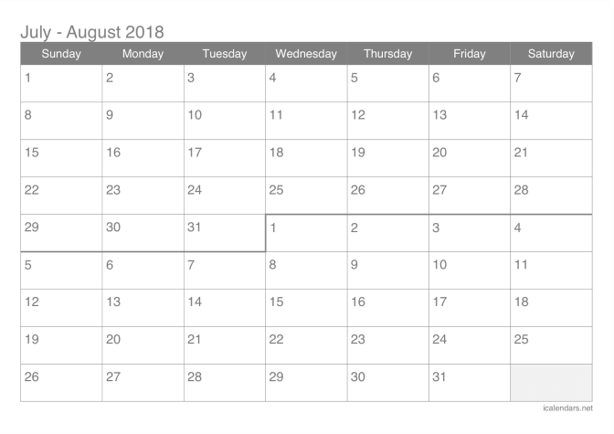 2018 July and August Calendar