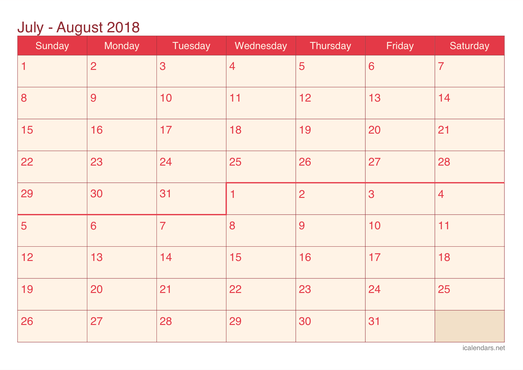 Calendar June July Aug : July and august printable calendar icalendars