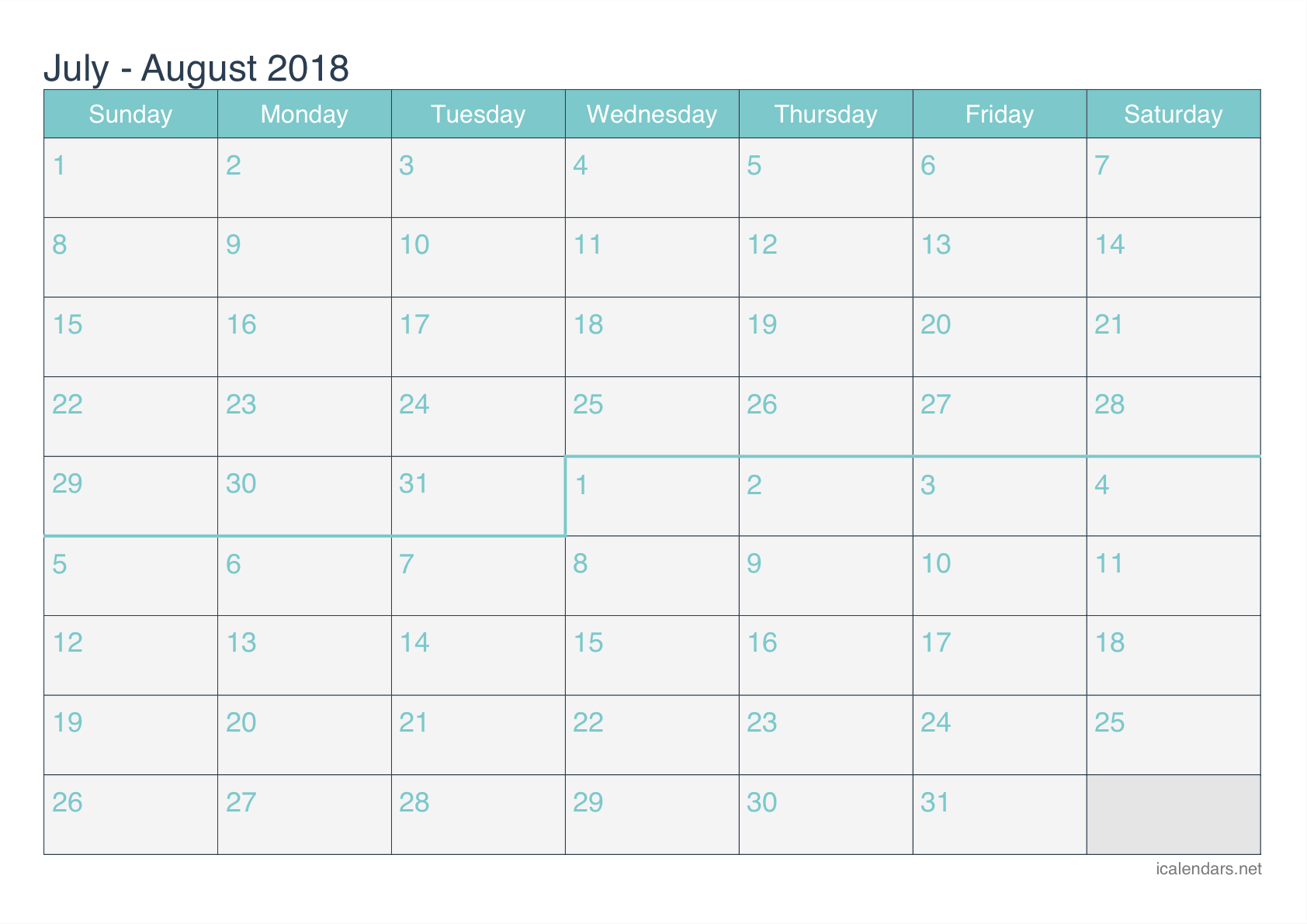 2018 july and august calendar turquoise 2018 july and august calendar turquoise