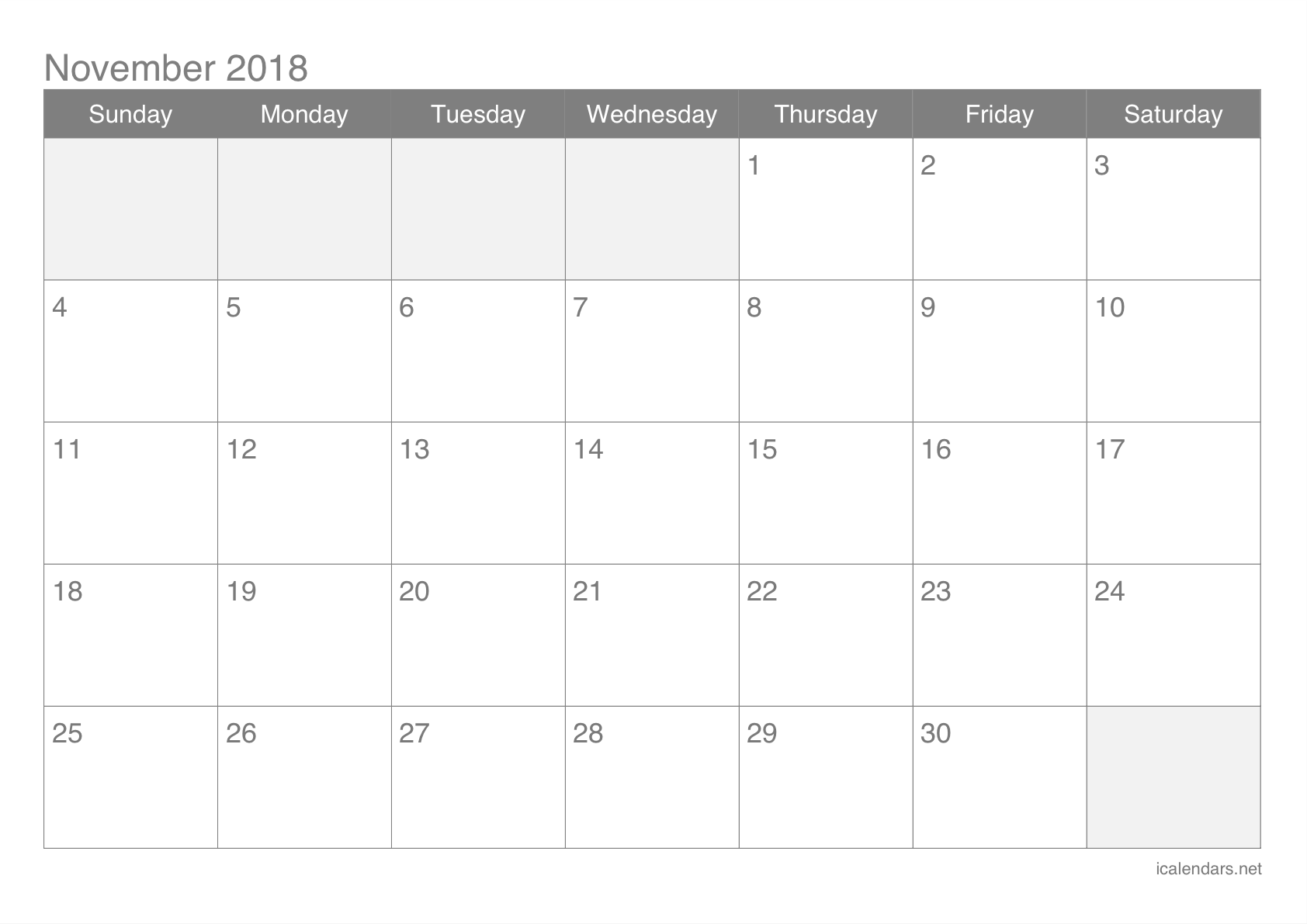 graphic regarding Printable Nov Calendar referred to as November 2018 Printable Calendar -