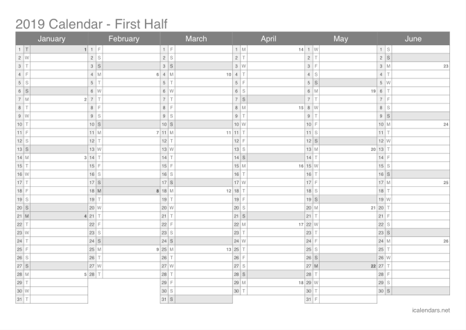 2019 half year calendar with week numbers