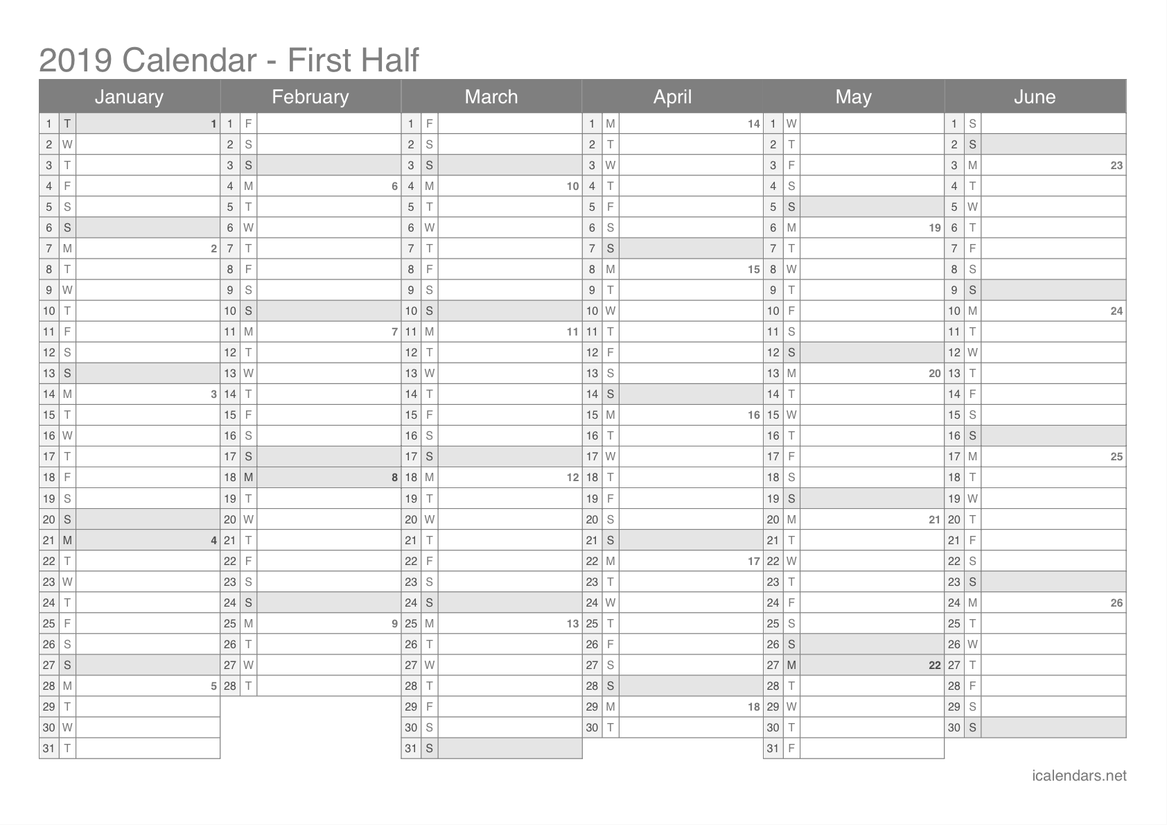 Calendario In Excel 2020.2019 Printable Calendar Pdf Or Excel Icalendars Net
