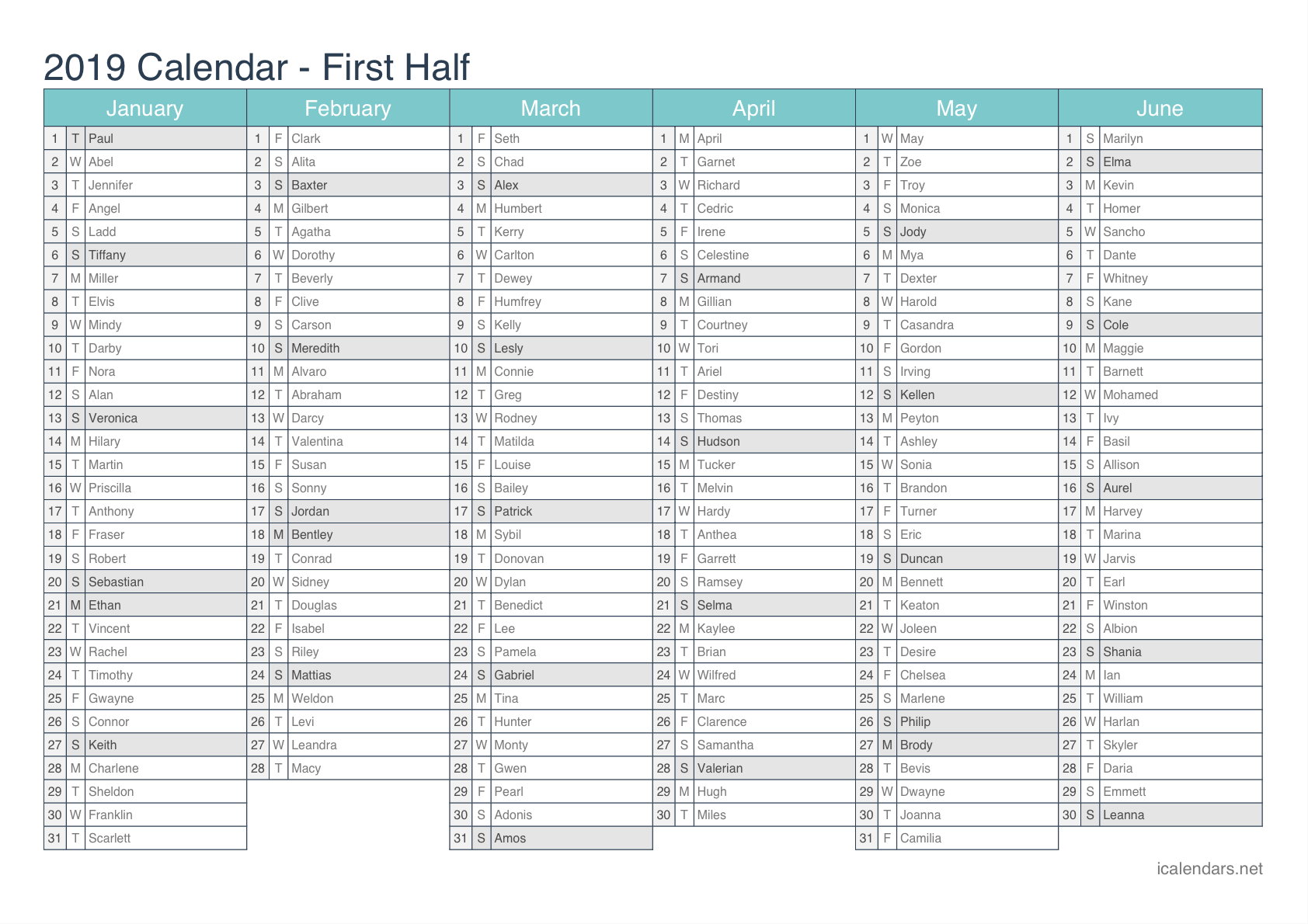 1st half 2nd half pdf excel 2019 half year name day calendar