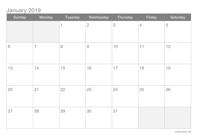 Calendrier 2019 Free.2019 Printable Calendar Pdf Or Excel Icalendars Net