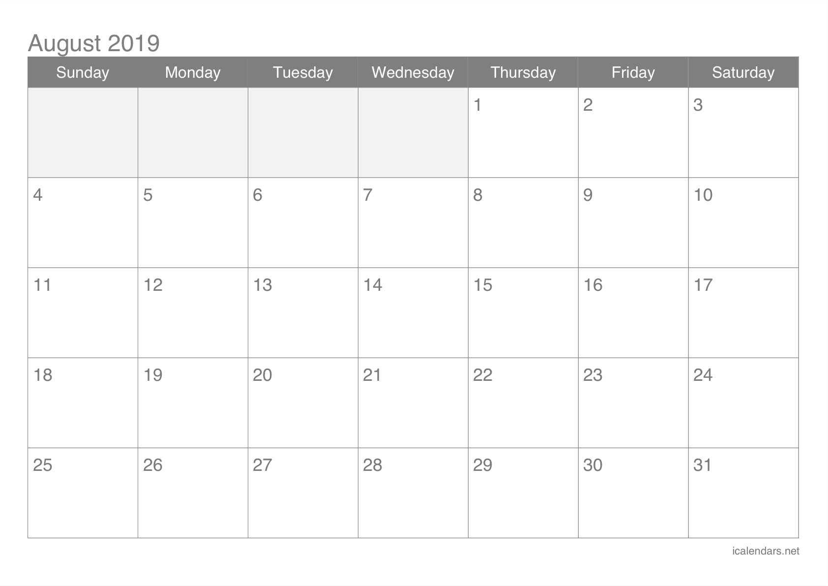 image relating to Calendar for Printable named August 2019 Printable Calendar -