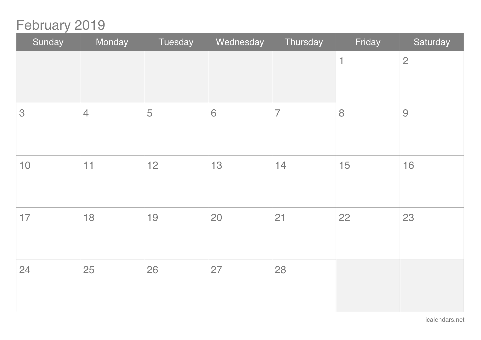 image relating to Printable February Calendar identified as February 2019 Printable Calendar -