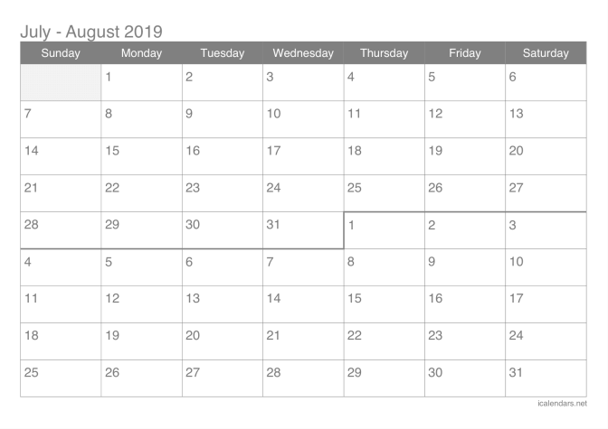 2019 July and August Calendar