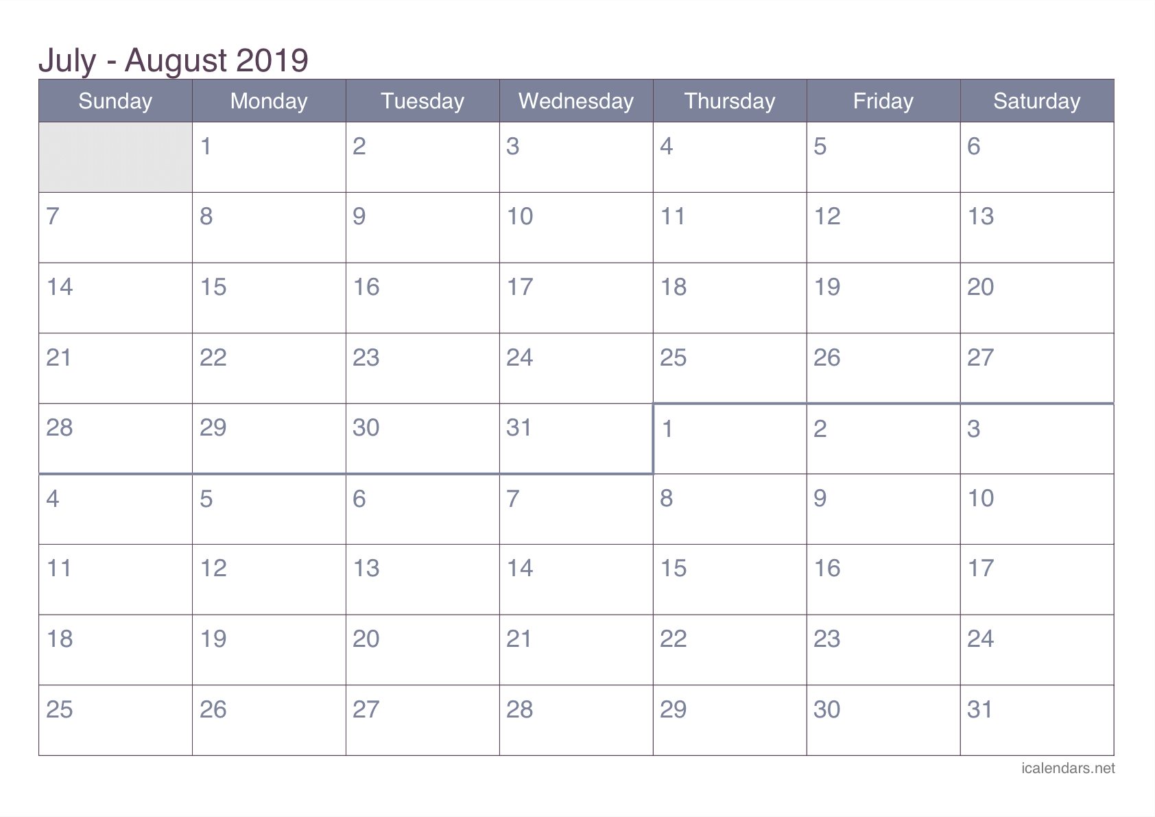 July And August 2019 Printable Calendar Icalendars Net