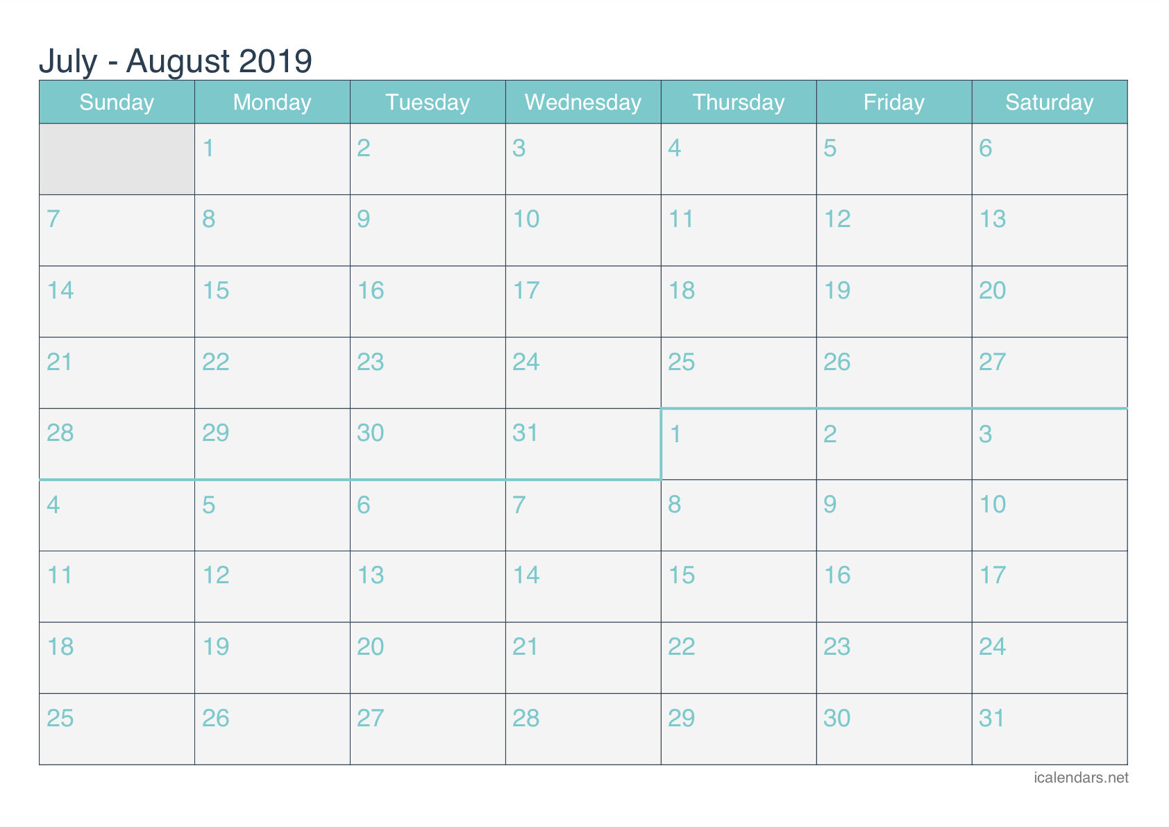 photo regarding Printable Monthly Calendar August known as July and August 2019 Printable Calendar -
