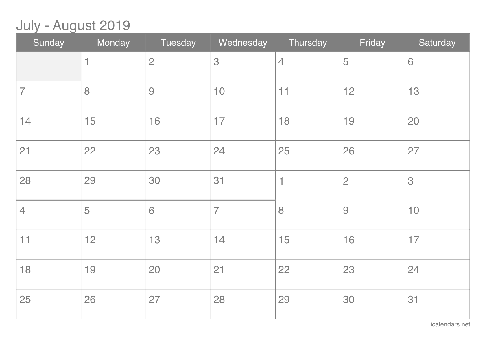 photo regarding Printable Calendars called July and August 2019 Printable Calendar -