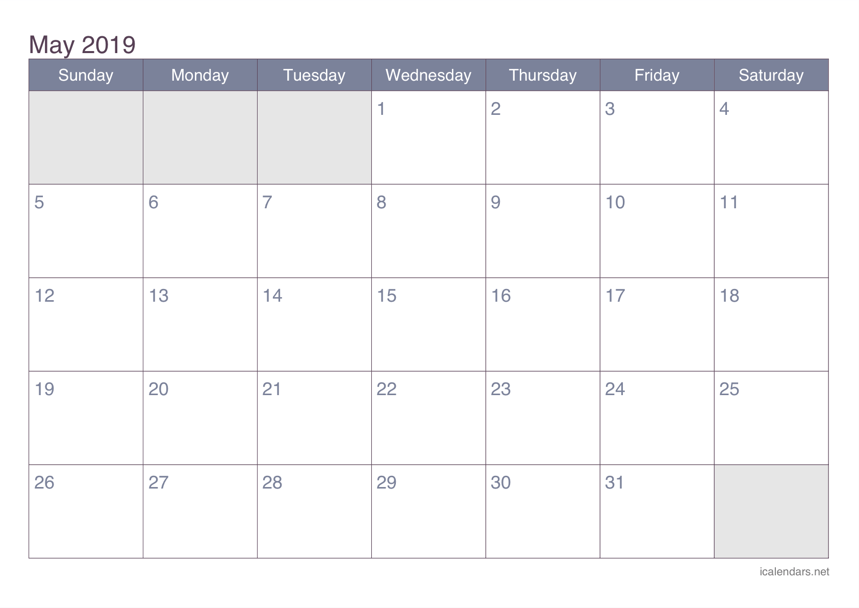 May 2019 Printable Calendar - icalendars.net