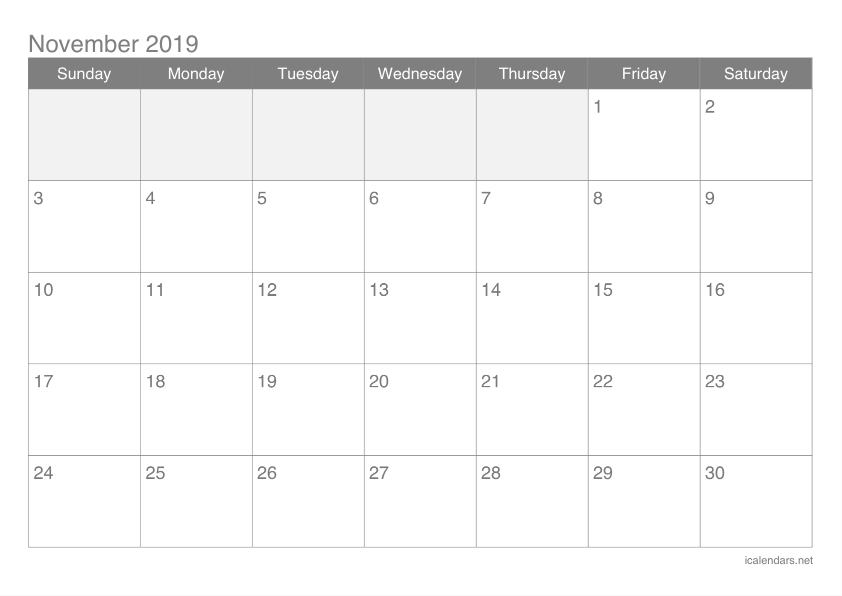 image regarding November Printable Calendar referred to as November 2019 Printable Calendar -