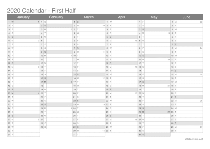 2020 half year calendar with week numbers